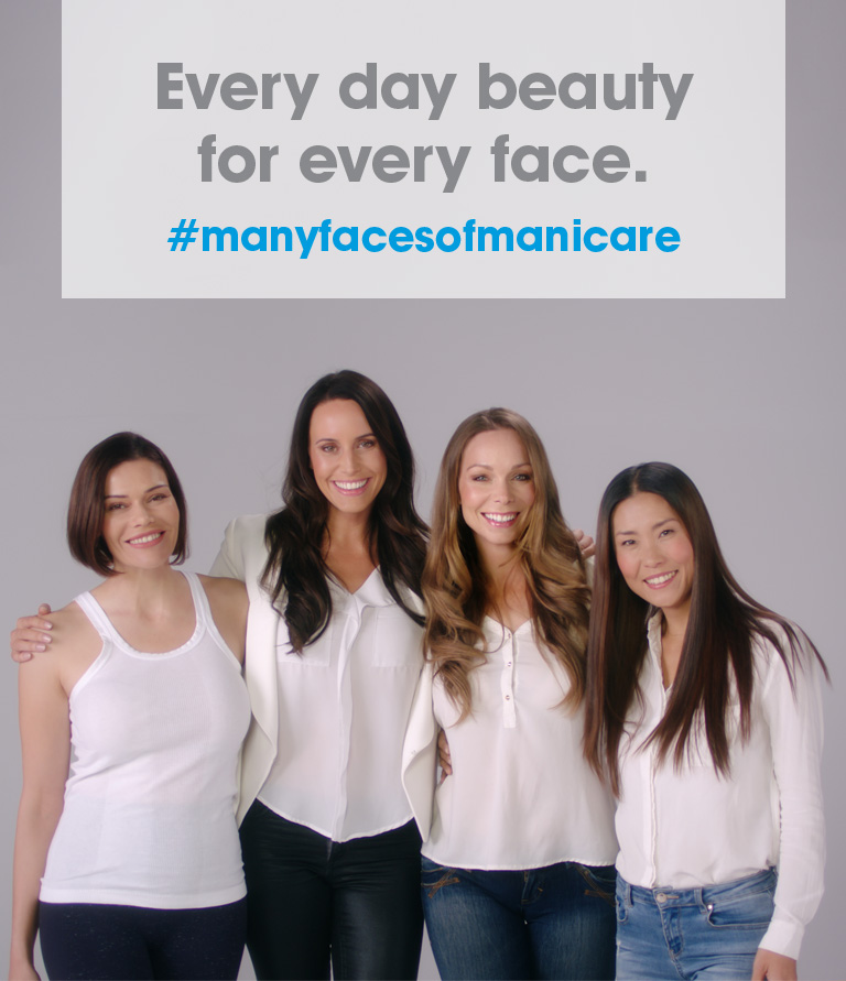 4 women standing along side with text box Many Faces of Manicare - Everyday beauty for every face #manyfacesofmanicare